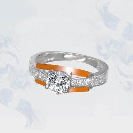 Кольцо из серебра с золотыми вставками, модель 115