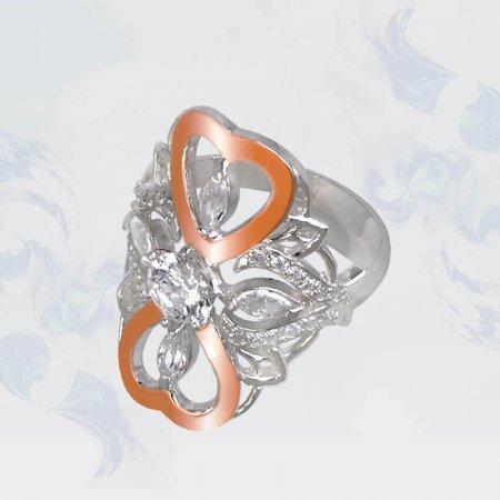 Кольцо из серебра с золотыми вставками, модель 116
