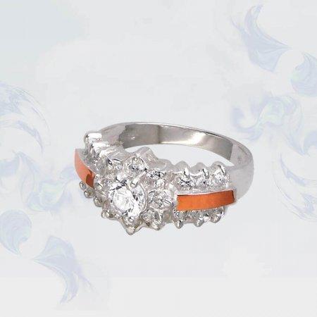 Кольцо из серебра с золотыми вставками, модель 118
