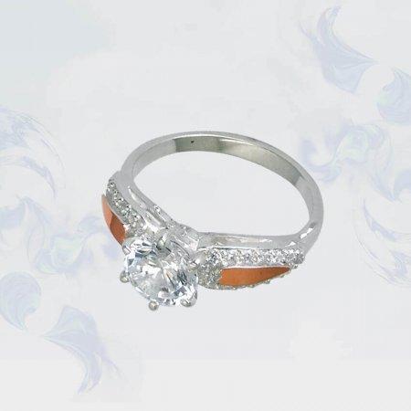 Кольцо из серебра с золотыми вставками, модель 120