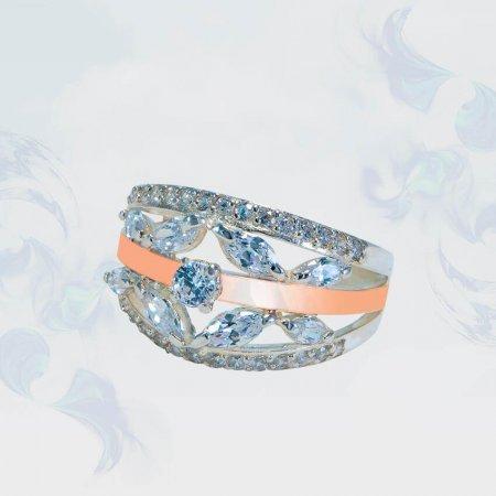 Кольцо из серебра с золотыми вставками, модель 122