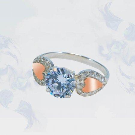 Кольцо из серебра с золотыми вставками, модель 123