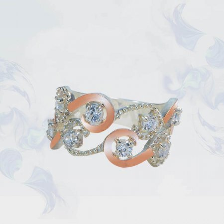 Кольцо из серебра с золотыми вставками, модель 125