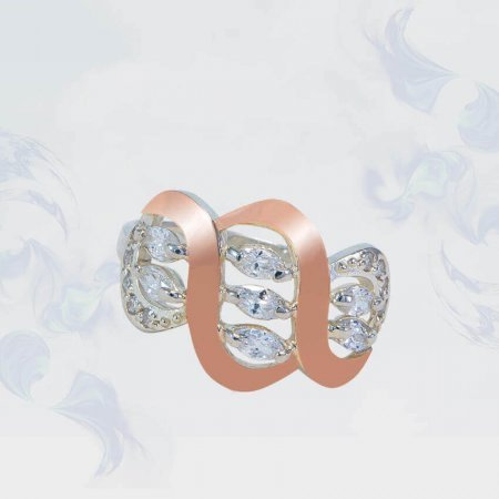 Кольцо из серебра с золотыми вставками, модель 127