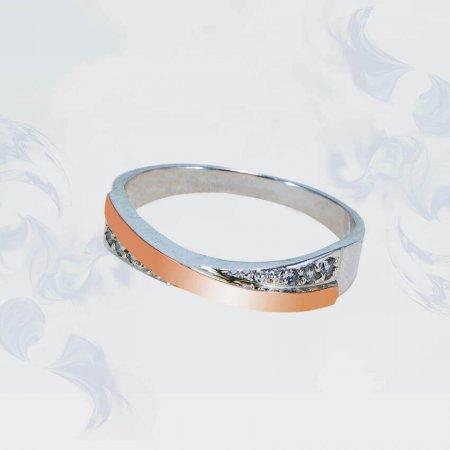 Кольцо из серебра с золотыми вставками, модель 129