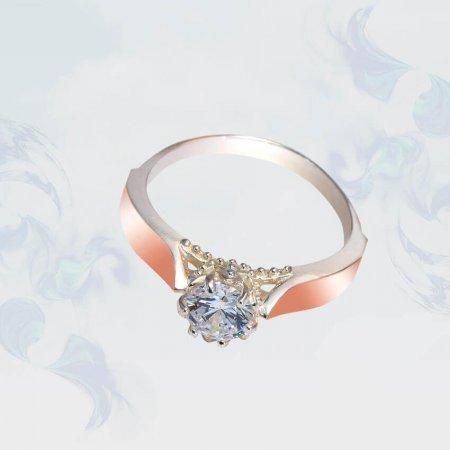 Кольцо из серебра с золотыми вставками, модель 132