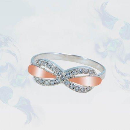 Кольцо из серебра с золотыми вставками, модель 135