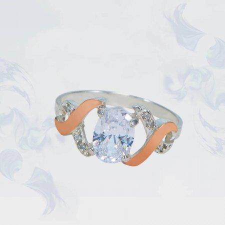 Кольцо из серебра с золотыми вставками, модель 136