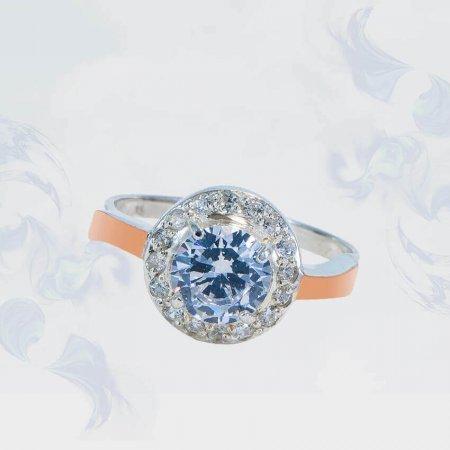 Кольцо из серебра с золотыми вставками, модель 137