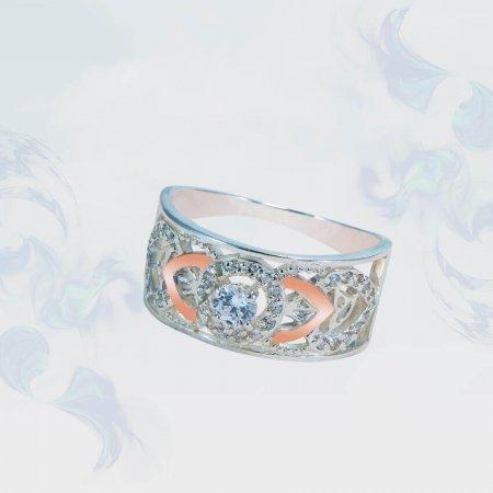 Кольцо из серебра с золотыми вставками, модель 138