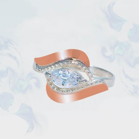 Кольцо из серебра с золотыми вставками, модель 139