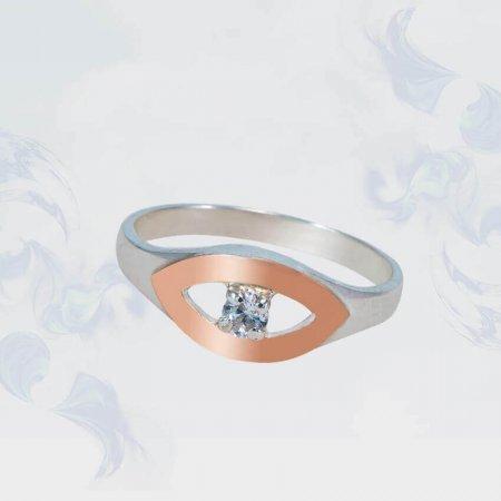 Кольцо из серебра с золотыми вставками, модель 140