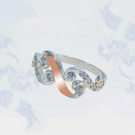Кольцо из серебра с золотыми вставками, модель 141