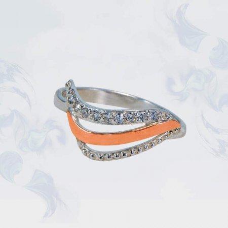 Кольцо из серебра с золотыми вставками, модель 142