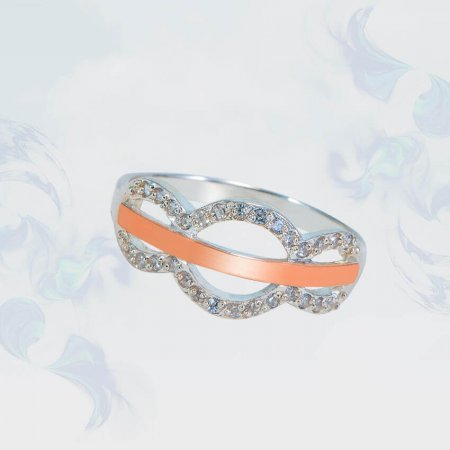 Кольцо из серебра с золотыми вставками, модель 143