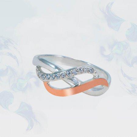 Кольцо из серебра с золотыми вставками, модель 144