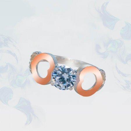 Кольцо из серебра с золотыми вставками, модель 145