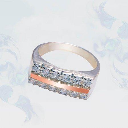 Кольцо из серебра с золотыми вставками, модель 146