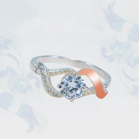 Кольцо из серебра с золотыми вставками, модель 148