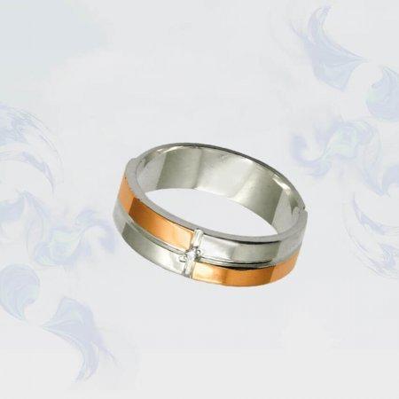 Кольцо из серебра с золотыми вставками, модель 015