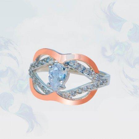 Кольцо из серебра с золотыми вставками, модель 150