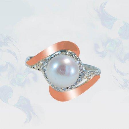 Кольцо из серебра с золотыми вставками, модель 151