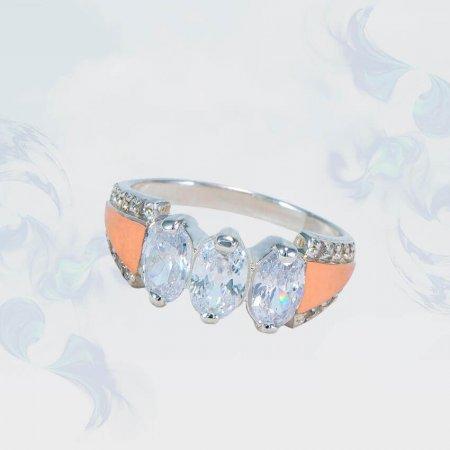 Кольцо из серебра с золотыми вставками, модель 152