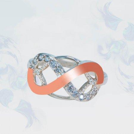 Кольцо из серебра с золотыми вставками, модель 155
