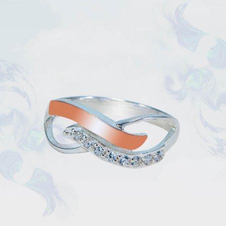 Кольцо из серебра с золотыми вставками, модель 156