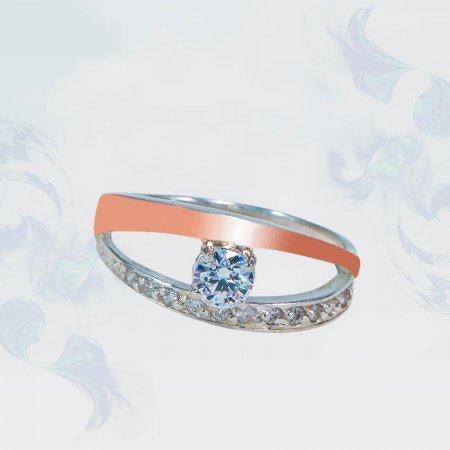 Кольцо из серебра с золотыми вставками, модель 159