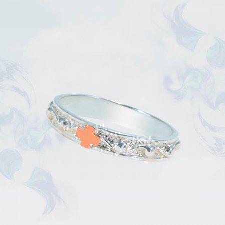 Кольцо из серебра с золотыми вставками, модель 160б