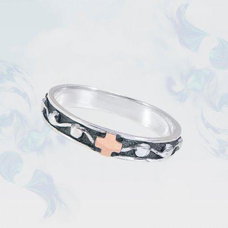 Кольцо из серебра с золотыми вставками, модель 160ч