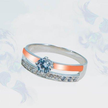 Кольцо из серебра с золотыми вставками, модель 161