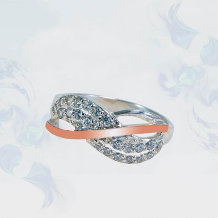 Кольцо из серебра с золотыми вставками, модель 164