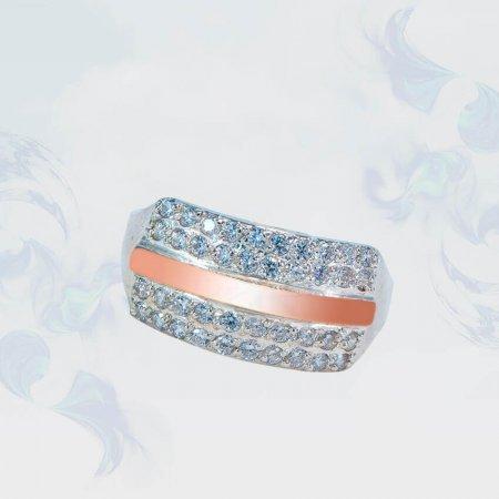 Кольцо из серебра с золотыми вставками, модель 165