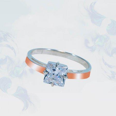 Кольцо из серебра с золотыми вставками, модель 166
