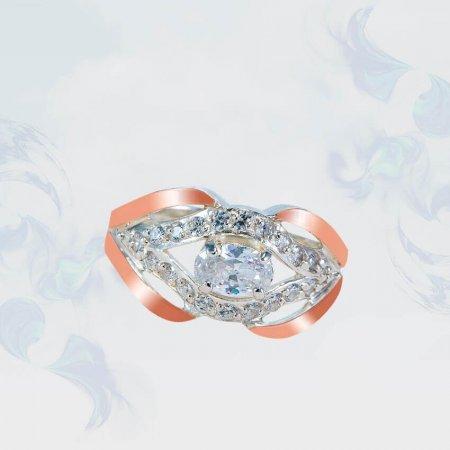 Кольцо из серебра с золотыми вставками, модель 167