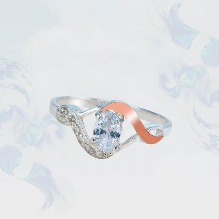 Кольцо из серебра с золотыми вставками, модель 168
