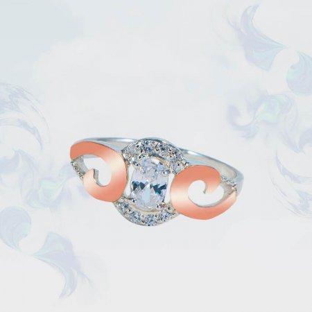 Кольцо из серебра с золотыми вставками, модель 169