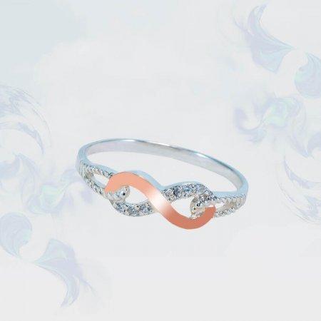 Кольцо из серебра с золотыми вставками, модель 170