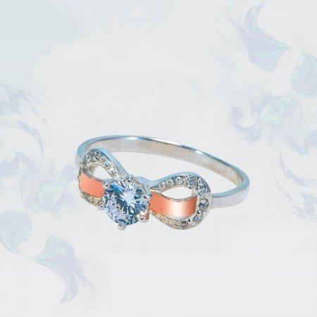 Кольцо из серебра с золотыми вставками, модель 172