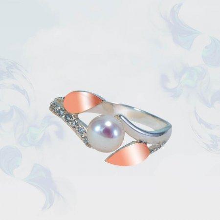 Кольцо из серебра с золотыми вставками, модель 173