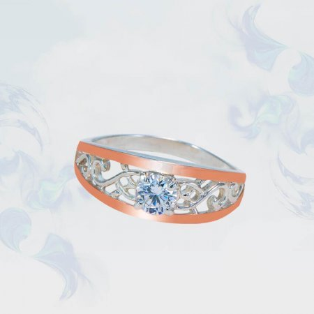 Кольцо из серебра с золотыми вставками, модель 175