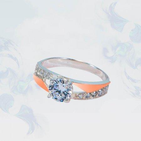 Кольцо из серебра с золотыми вставками, модель 176
