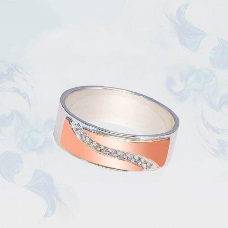 Кольцо из серебра с золотыми вставками, модель 177