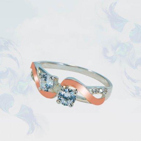 Кольцо из серебра с золотыми вставками, модель 179