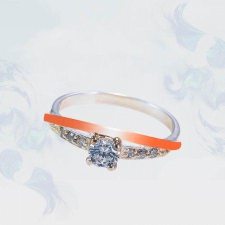 Кольцо из серебра с золотыми вставками, модель 183