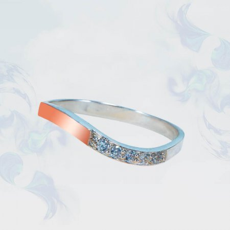 Кольцо из серебра с золотыми вставками, модель 184