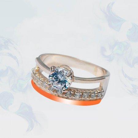 Кольцо из серебра с золотыми вставками, модель 185