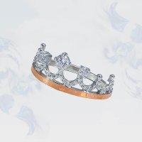 """Кольцо из серебра с золотыми вставками Корона"""", модель 186"""""""